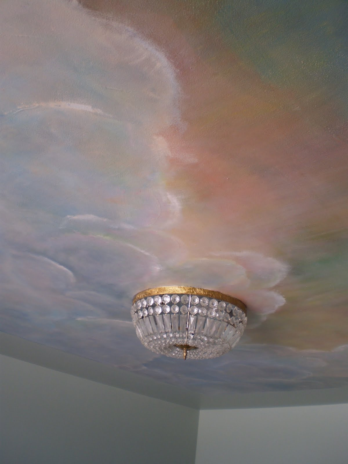 For your rooms only portfolio mural of sunset sky with for Cloud mural ceiling
