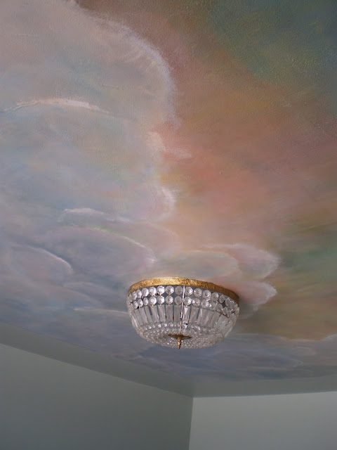 For your rooms only portfolio mural of sunset sky with for Ceiling cloud mural