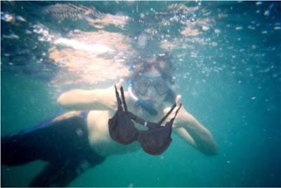 Olga the Traveling Bra goes snorkeling