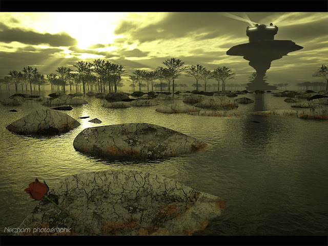 Water world and a rose 3d landscape picture