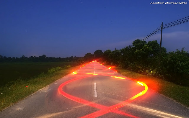 curvy light trails night shot