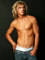 blonde dreadlocks, calvin klein underwear and shirtless