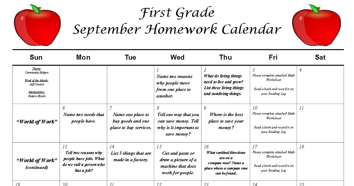 First Grade News At Lbj First Grade September Homework Calendar