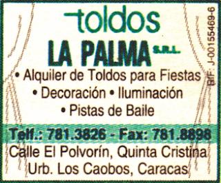 TOLDOS LA PALMA, S.R.L. en Paginas Amarillas tu guia Comercial