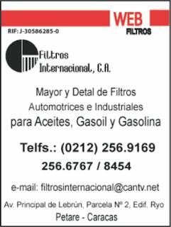 FILTROS INTERNACIONAL, C.A. en Paginas Amarillas tu guia Comercial