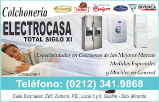 COLCHONER�A ELECTROCASA TOTAL SIGLO XI, C.A. en Paginas Amarillas tu guia Comercial