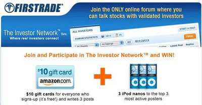 FREE Ipod Nano & Amazon Gift Cards Give Aways from Firstrade