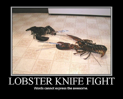Lobster Knife Fight Demotivational Poster