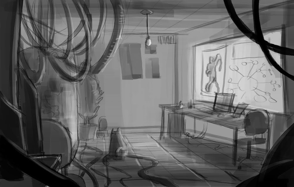 The One After Is A Sketch Of Lab Room With Something Creepy In Tank Corner And Nosey Cat