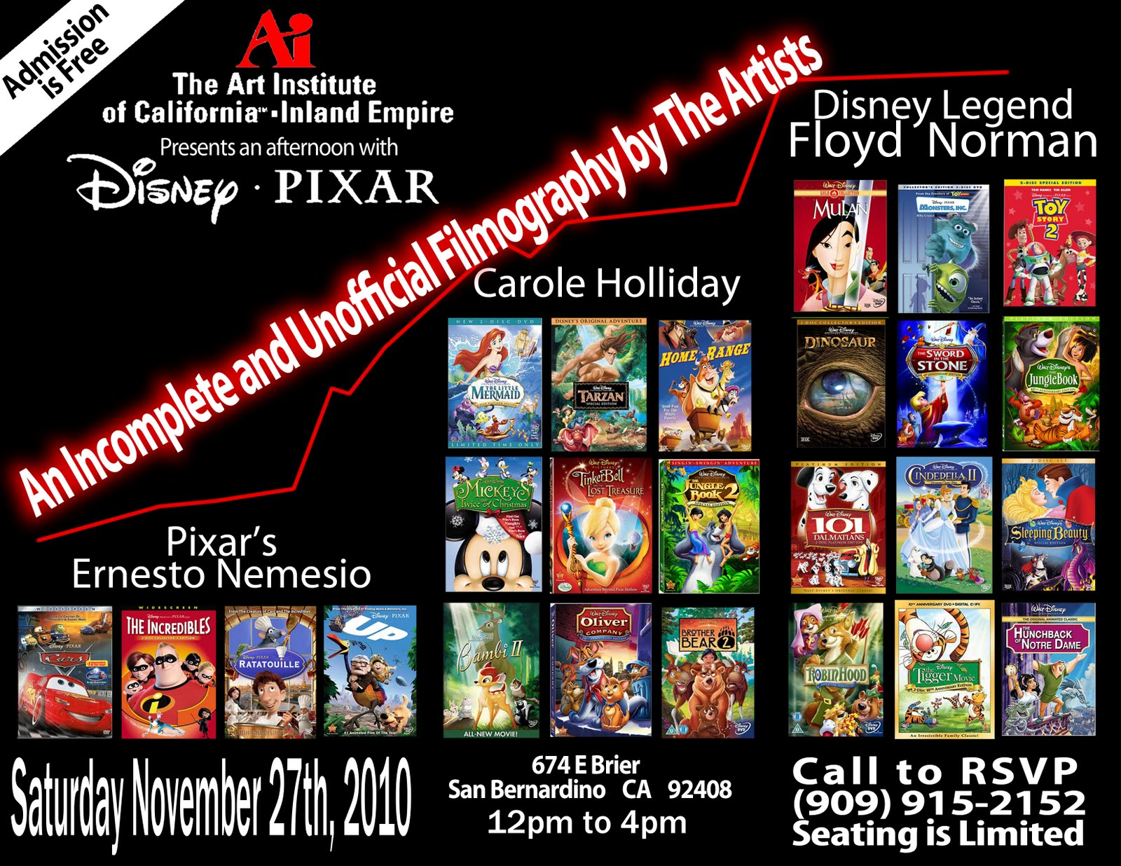 FREE ANIMATION WORKSHOP WITH DISNEY/PIXAR Artists