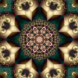 gold and turquoise colored fractal image of 8-pointed mandala enclosed by gold objects off each point