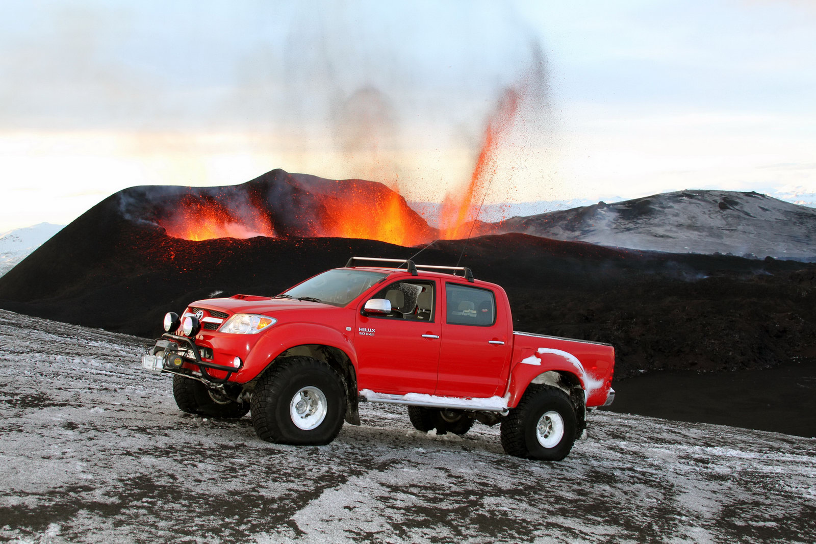 Toyota Hilux tackles Iceland Volcano Eyjafallajökull hours before the