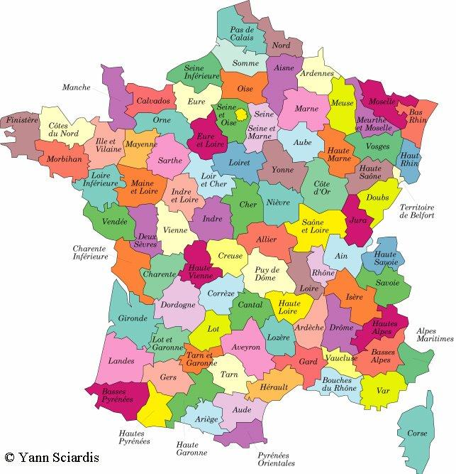 Francsenia: Les départements métropolitains