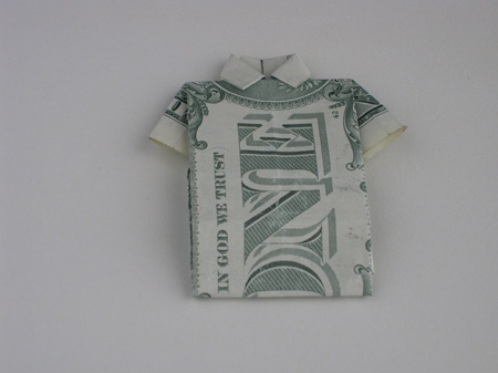 dollar bill origami butterfly. Money Origami Shirt