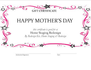 Redesign Etc. HOme Staging Mothers Day Certificate