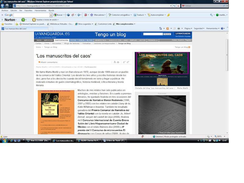 Los Manuscritos del Caos en LA VANGUARDIA (27-11-09)