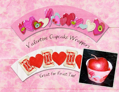 Just plop your cupcakes or fruit cups into these Valentine Wraps!