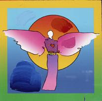 Angel with Sun on Blends. Peter Max.