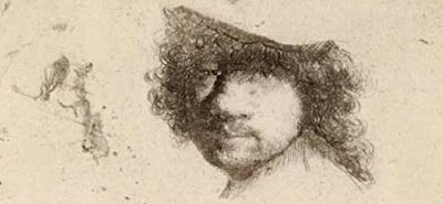 Rembrandt van Rijn. Sheet of Studies, Head of Rembrandt, Beggars. Circa 1632.