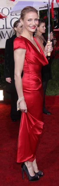 Cameron Díaz con vestido rojo