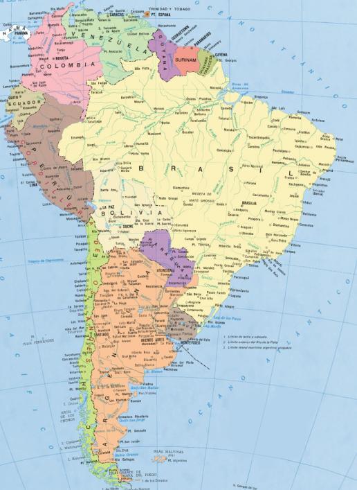 Mapa Mudo Fisico De America Del Sur