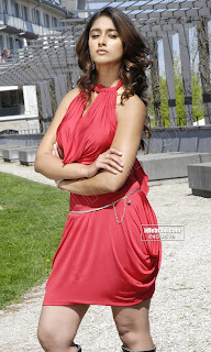 Ileana in a lovely Crepe Tight Red Top and Skirt