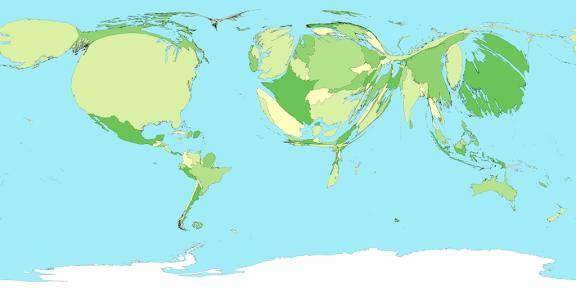 El mundo redimensionado según el PIB de los países