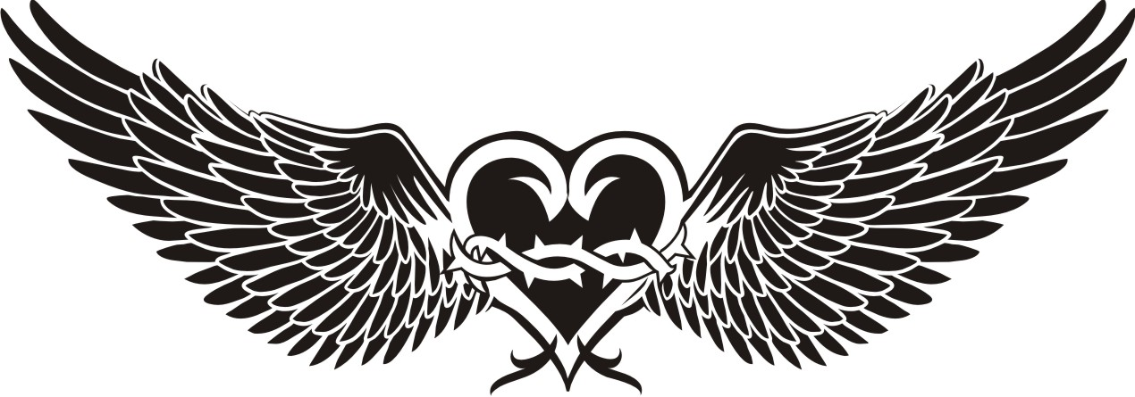 United States flag style heart wings tattoo picture.