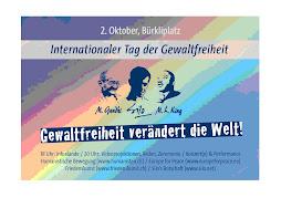 cartel  de celebracion del dia internacional de la no-violencia