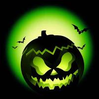 green pumpkin face card