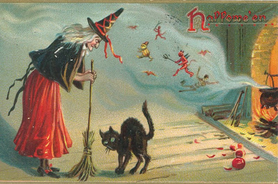 Halloween Witch Broom Card