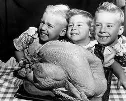 kids with turkey