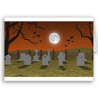 Spooky Halloween Graveyard Cards