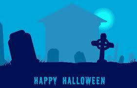 3D Halloween Graveyard Card