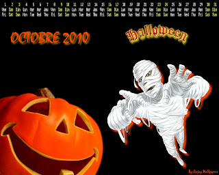 2010 Halloween october calendar wallpaper