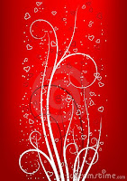 red heart on valentine card background
