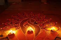 Diwali Diyas and Rangoli Card