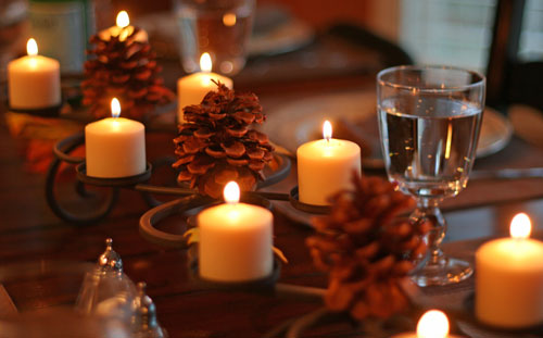Thanksgiving Candles Dinner Background