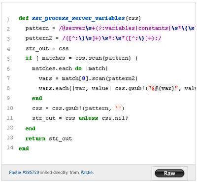 Код Pastie в блоге