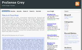 ProSense Grey -  3 Column Free Blogger Template