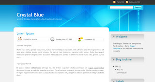 Crystal Blue Blogger Template | Blue and White Theme