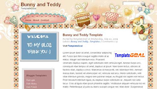 Blogger Template Bunny and Teddy