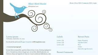 Blue Bird Basic Blogger Template