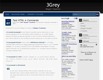 3Grey - Clean Blogger Template