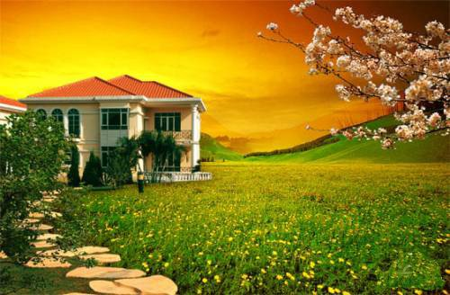 Download opened photoshop yellow house PSD free
