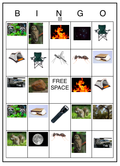 Camping BINGO Card Because You Cant Go Without MMs And Trail Mix I Figure Well Steal Some From Our Or Just Play With