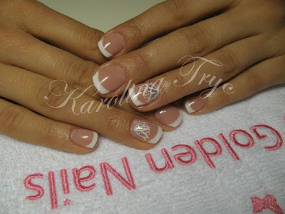 beautiful nail art natural nails uv gel overlay  white