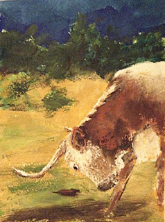 Texas Hill Country Art longhorn bull