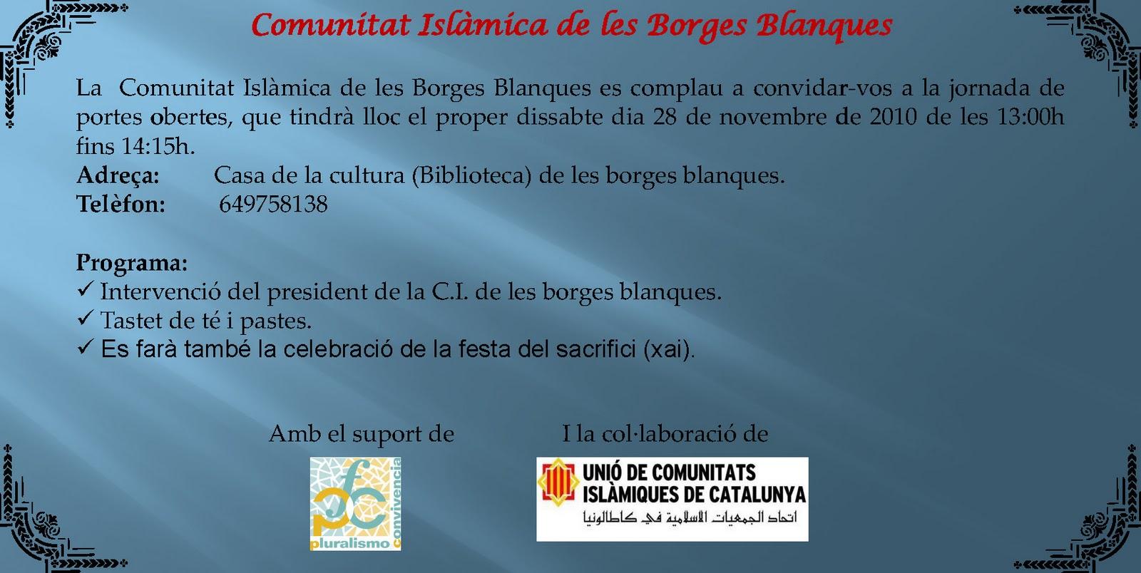 Uni de comunitats isl miques de catalunya la comunitat for El tiempo les borges blanques