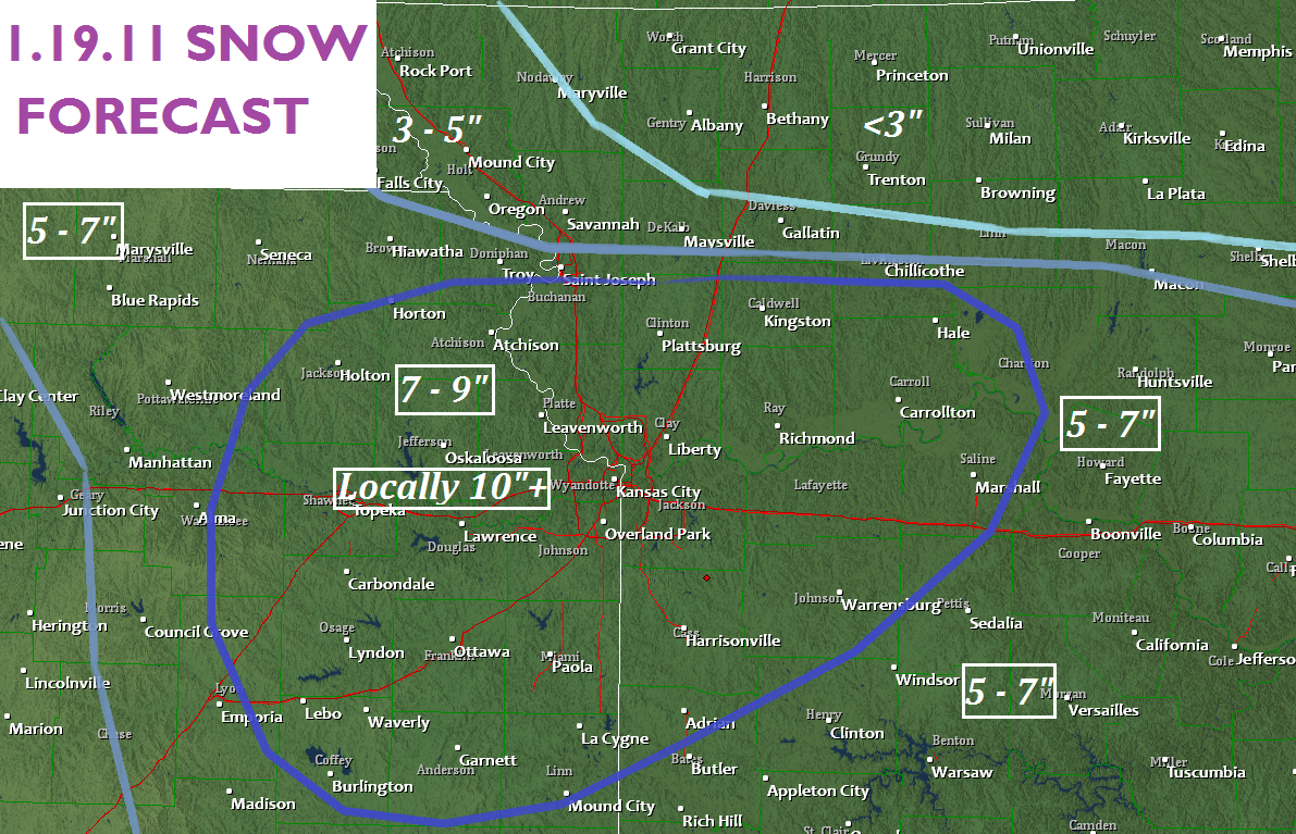 above is my latest snowfall forecast that contains some model data along with current doppler radar indications and ground observations